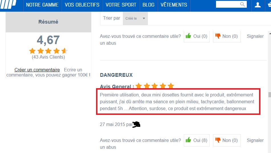 caféine en poudre screenshot commentaire client